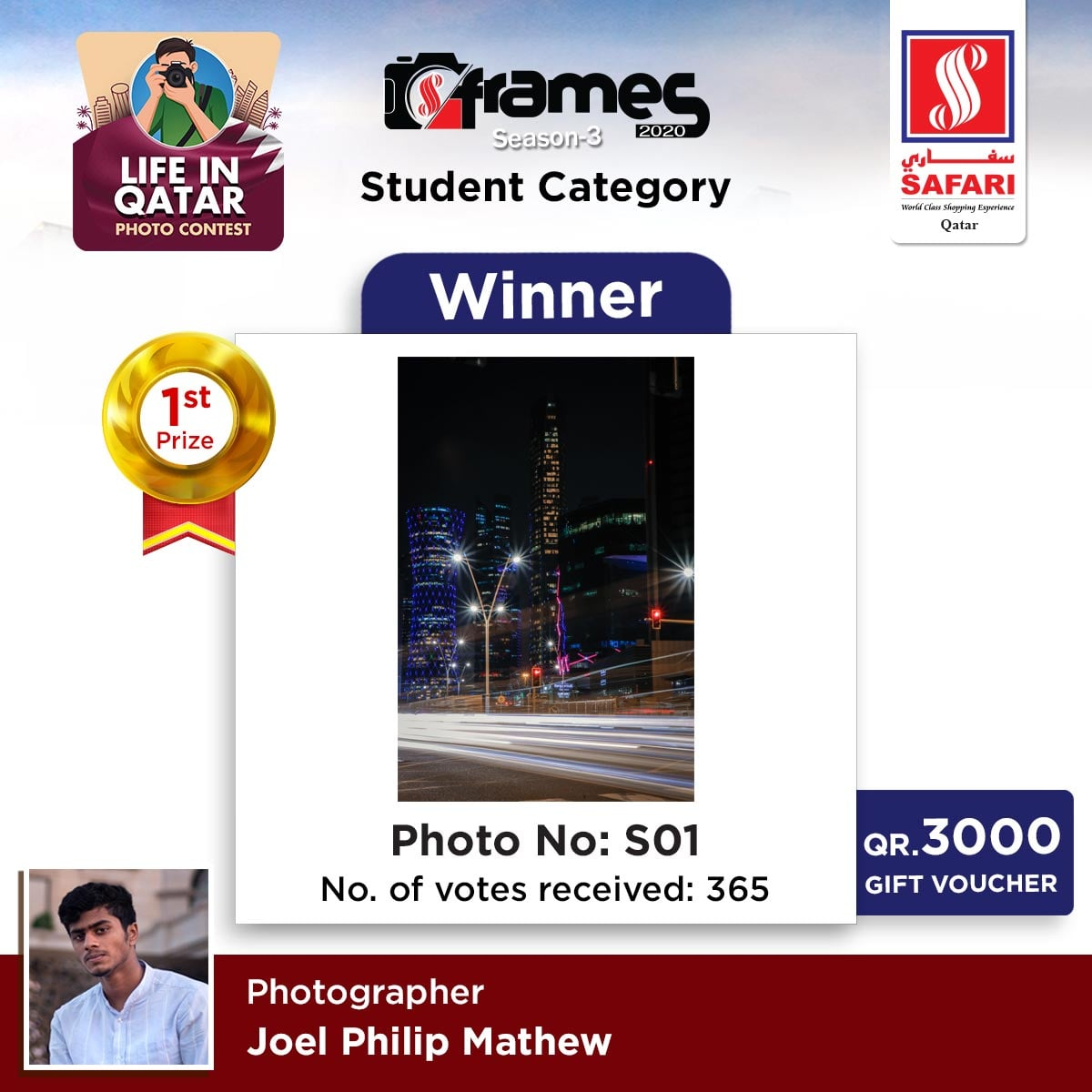 Winners of Frames 2020 Students Category