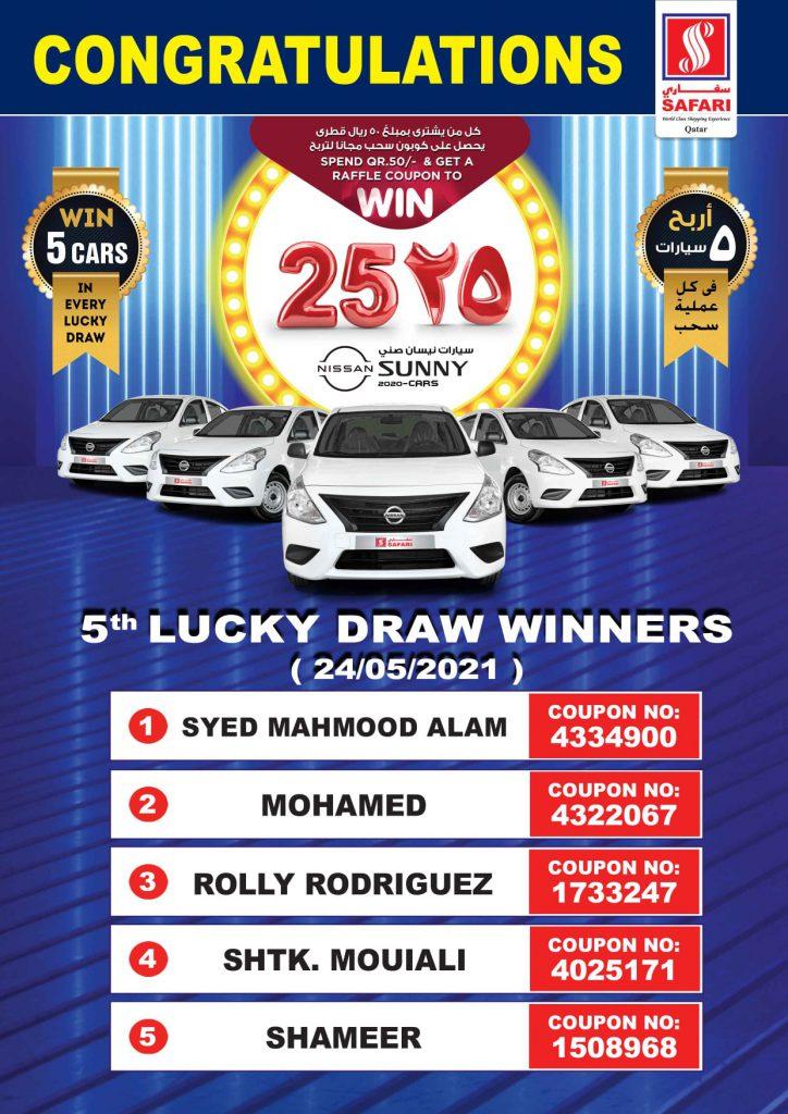 5th draw winners